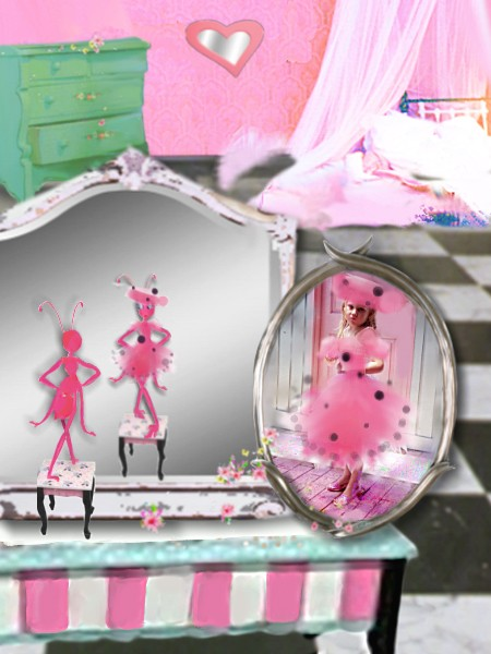 Little Pink Ant looks in mirror